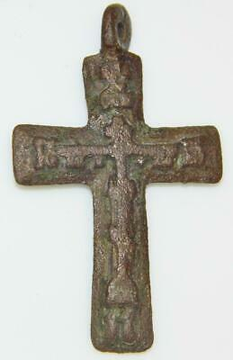 Antique Monastic True Believers Cross Bronze Crucifix Byzantine Orthodox Prayer