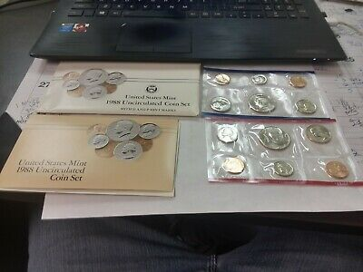 1988 US Mint Uncirculated Coin Set - P and D Mint Marks