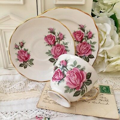 ROYAL VALE 1960s TRIO SET CUP SAUCER & PLATE - PINK ROSES GILDED BONE CHINA