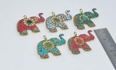 Costume Jewellery Wholesale 5pc 925 Tibetan Brass Red Coral Turquoise And Mix Stone Pendant Lot Mixed Lots