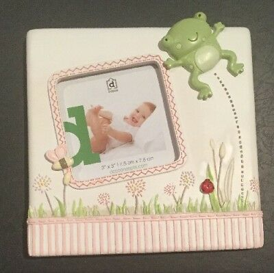 Nursery Photo Frame Fifi Frog 3x3 Or 7.5cm X 7.5cm Green And Pink