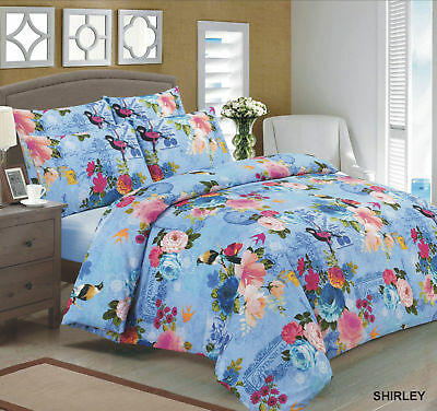 3 Piece Duvet / Quilt Cover with Pillow Case Bedding Shirley Single Double King