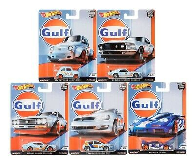Car Culture Gulf Set 5 pcs Fiat Ford Nissan VW McLaren 1:64 Hot Wheels