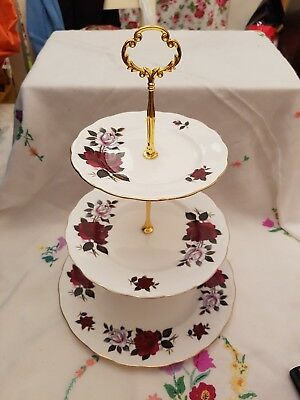 Vintage Colclough bone china Amoretta rose red and white 3 tier Cake Stand