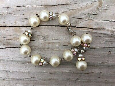 Vintage Faux Pearl Bracelet w Iridescent Rhinestone Spacers Signed H & S Clasp