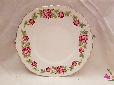 Vintage Royal Vale pink roses design bone china cake plate vgc