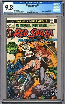 MARVEL FEATURE #1 CGC 9.8 - WHITE - 1st book dedicated to RED SONJA 1975