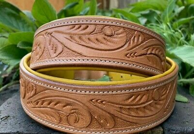 Leather Dog Collar Soft Padded Hand Tooled Hand Carved And Engraved Luxury