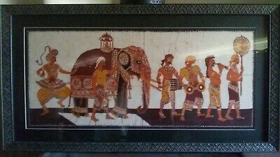 Stunning authentic Sri Lankan Batic - Men with Elephants. As new condition.