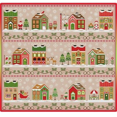 Santa's Village cross stitch chart  Digital Format