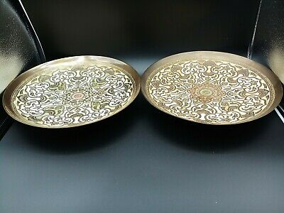 Pair Of Vintage Brass Islamic Middle-Eastern Persian Plates Vintage Persian Plat