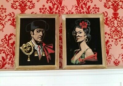 Vintage Oil on Velvet Paint by Number Two Paintings Spanish Matador and Lady