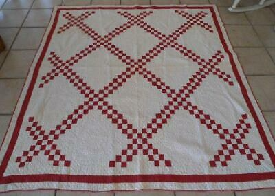 Antique Turkey Red Quilt Hand Stitched Densely Hand Quilted Restore Cutter
