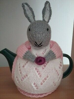 knitted rabbit tea pot cosy -  4  cup