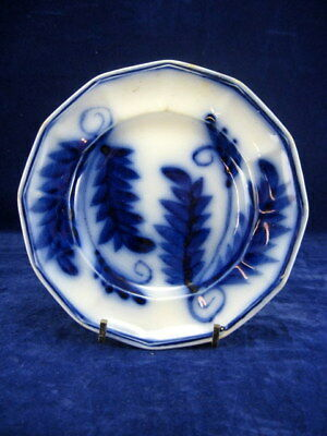 Antique Flow Blue 12 Sided China BRUSH STROKE Sponged Fern PLATE 6 ¼ in. 19thC