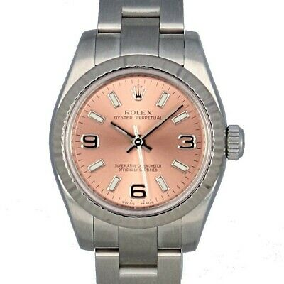 Rolex Ladies Oyster Perpetual Pink Dial Steel 18k White Gold Fluted Bezel 176234