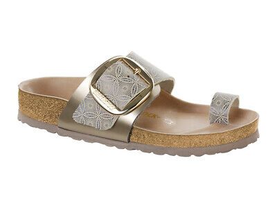 6bbf692aafa7 Birkenstock Natural Leather MIRAMAR Big Buckle Ceramic Pattern Blue Size 36  - 41