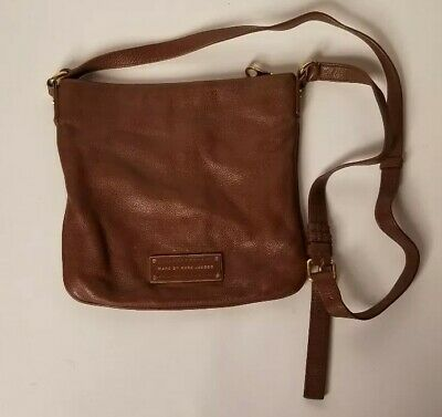 dfe8fdf3cb59f Marc By Marc Jacobs Sia Leather Crossbody Bag Brown Tan Gold Rare Preppy  Zipper