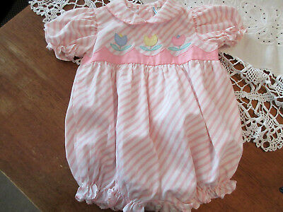 VINTAGE PINK & WHITE STRIPE with APPLIQUED TULIPS ROMPER ONE PIECE 18 mo