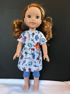 Fits American Girl Wellie Wishers Doll Clothes Outfit Top Dress Leggings New