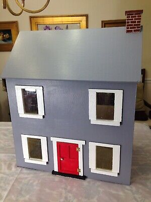 Antique Hand Made Solid Wood Dollhouse with Miniature Furnishings