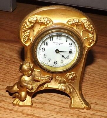 Antique New Haven Usa Brass/bronze Shelf Clock ~ Art Nouveau Ornate Cherub