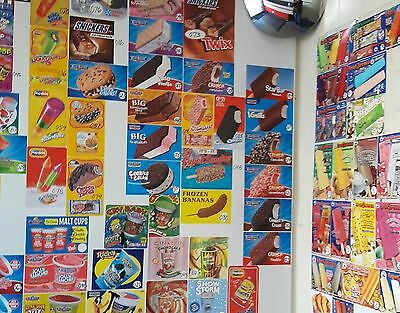 100 Ice Cream Truck Decal Stickers, Sandwichs,bars,bomb pops,cones & fruit bars