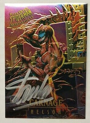 Signed Stan Lee Carnage 1995 Fleer #2 Spiderman Masterpieces Amazing 361 300 362