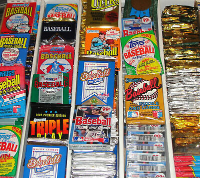 HUGE Lot of 300 Unopened Old Vintage Baseball Cards in Wax Cello Rack Packs