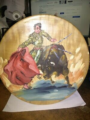 """VINTAGE SIGNED BULLFIGHT Oil Painting on Wooden Plate Lot of 2 12""""DIA"""