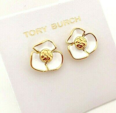 cadb366a4 TORY BURCH ENAMEL Flower Logo Earrings Studs New on Card & Dust BAG ...