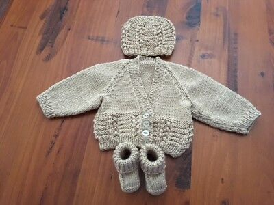 Hand knitted baby set, Cardigan,Beanie and Bootees NEWBORN (Caramel)