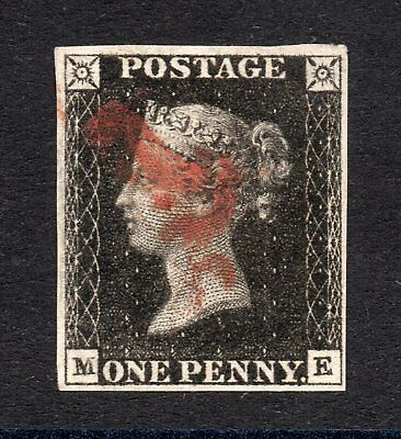 1840 penny black Sg 2 plate 6 ( M E ) 1d black with red Maltese cross pmk.