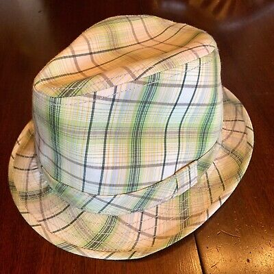 f57ca246ed7 Vintage Broner Wear It Men s White   Green Plaid Cotton Fedora Hat Size  Large