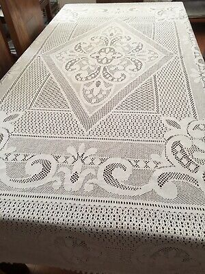 """Very Large Pure Cotton Lace Tablecloth.  White. 120"""" X 80"""""""