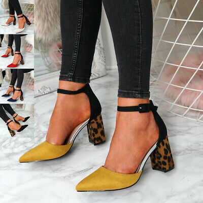 Womens Ladies Ankle Strap Block Heel Leopard Pumps Pointed Toe Shoes Size Uk