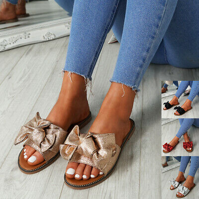 Womens Ladies Peep Toe Flat Sandals Bow Studded Shine Flats Party Fashion Shoes