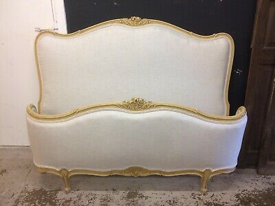 French Double Recovered Demi Corbeil Bed