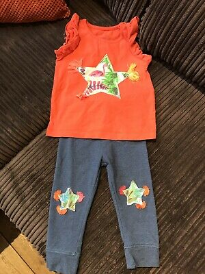 Next Girls Outfit Leggings Tshirt Flamingo 12-18 Months Red Blue