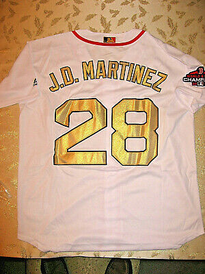 3a9445813 2019 Boston Red Sox J.D. Martinez  28 Gold Program Cool Base Jersey Champ  Patch