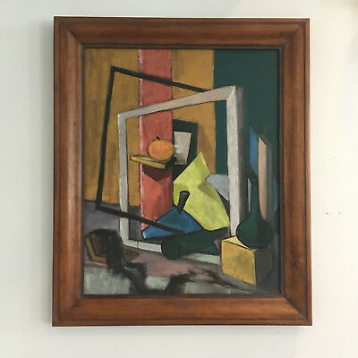 Vtg Mid Century Modern Orange Abstract Cubist Surreal Still Life Oil Painting