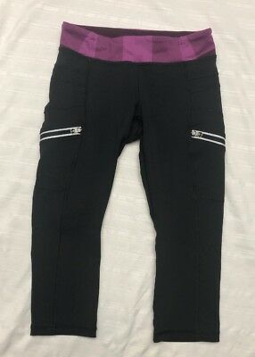 Ivivva Reflective Crop Leggings Girl's Black Purple Zipper Pocket Sz 8