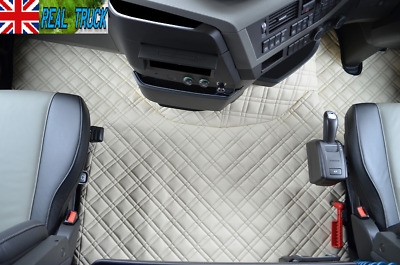 Truck Eco Leather Floor Mats Set Fit Volvo Fh 4 2013+ [ Twin Air Seats ] -Beige