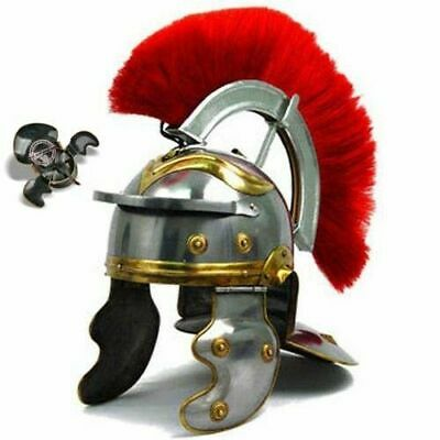 Medieval Roman Centurion Helmet with Thick Red Plume & Fitted Leather Liner
