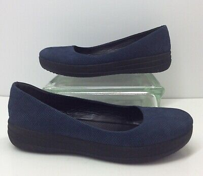 abddd28fff19d7 FitFlop F-Sporty Blue Snake Embossed Leather Ballerinas Ballets Flats Size 8
