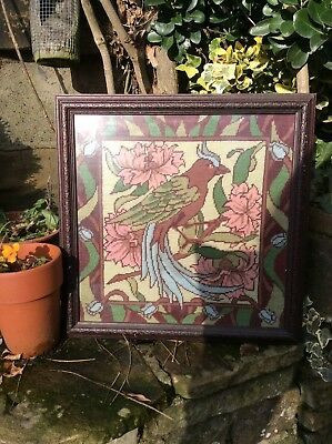 Beautiful Framed Tapestry Vintage Bird Picture
