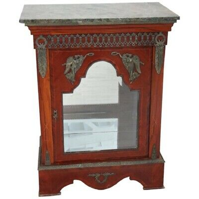 19th Century French antique Napoleon III Cabinet  Vetrine with Green Marble Top