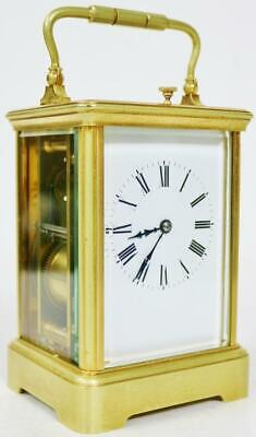 Antique French Ormolu Gong Strike Repeater Bevelled Glass 8 Day Carriage Clock