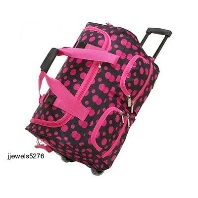 Rolling Duffel Bag Travel Luggage Girls Women Tote Wheeled Suitcase Pink Duffle