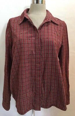 73ce3ec631a7 Faded Glory Women s Size XL Red Plaid Red Jeweled Hidden Button Pleat Shirt